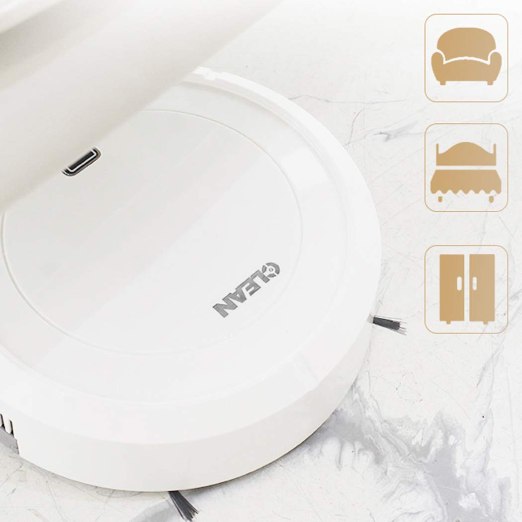 Electric Vacuum Cleaner Household Smart Automatic Rechargeable Floor Cleaner Robot with Brush (White)