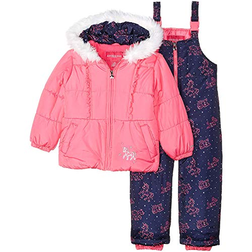 London Fog Baby Girls Snowsuit with Snowbib and Puffer Jacket, Fuchsia Unicorn 12MO