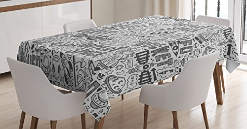 (Ambesonne Outer Space Decor Tablecloth by, Poodle Pattern with Astronauts Satellite Rocket Spaceship Spacecraft Plane Planets, Dining Room Kitchen Rectangular Table Cover, 52 X 70 Inches)