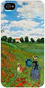 Claude Monet-The Poppy Field Near Argenteuil- Case for the Apple Iphone 4-4s Universal- Hard White Plastic