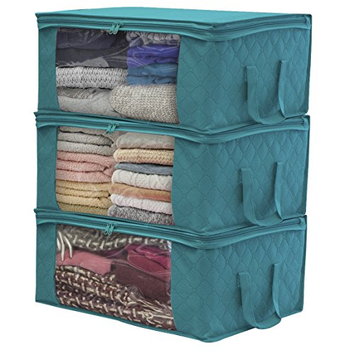 Sorbus Foldable Storage Bag Organizers, Large Clear Window & Carry Handles, Great for Clothes, Blankets, Closets, Bedrooms, and More (3-Pack, Aqua) (Folding Bins Set Storage)