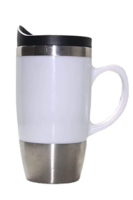 216c900d9b6 Parijat Handicraft Stainless Steel Travel Mug Spill Proof and Sipper Lid,  18 oz(White