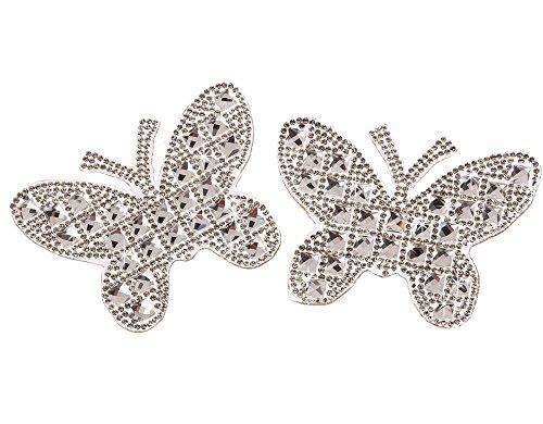 CraftbuddyUS IDM7 6cmx8cm One Pair of Medium Butterfly Rhinestone Diamante Hotfix Iron on Motif Appliqué