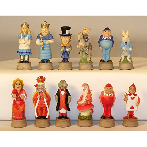 Worldwise Imports Hand Painted Alice in Wonderland Polystone Chess Pieces