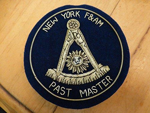 hand made free mason past master patch pin New York F&AM masonry masonic NY blue