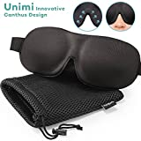 Sleep Mask for Woman & Man UNIMI Upgraded Contoured 3D Eye Mask Eye Cover for Sleeping - Comfortable Sleeping Mask No Pressure On Your Eyeballs - Create Total Darkness (Black+ Mesh Bag)