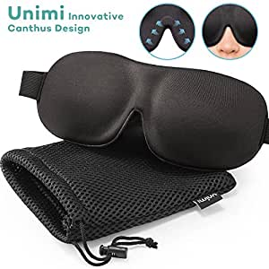 Unimi Sleep Mask for Woman and Man, Upgraded Contoured 3D Eye Mask Eye Cover, Comfortable Sleeping Mask No Pressure On Your Eyeballs, Create Total Darkness -Black