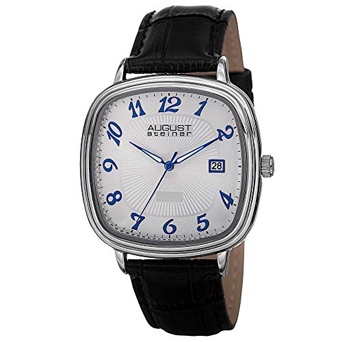 August Steiner Men's AS8155SS Silver Swiss Quartz Watch with White Dial and Black Calfskin Leather ()