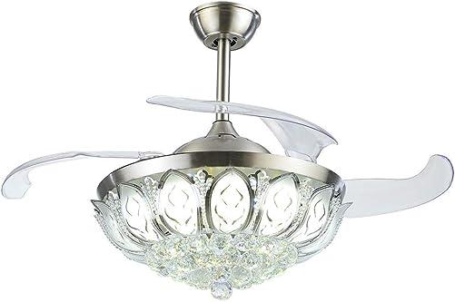 A Million 42 Crystal Ceiling Fan Light Retractable Blades Remote Control Chrome Luxury Chandelier Fan 3 Speeds 3 Colors Changes Lighting Fixture