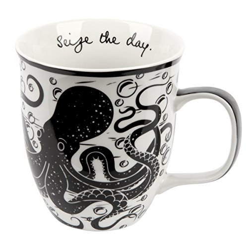 Boho Black & White Mug, Octopus
