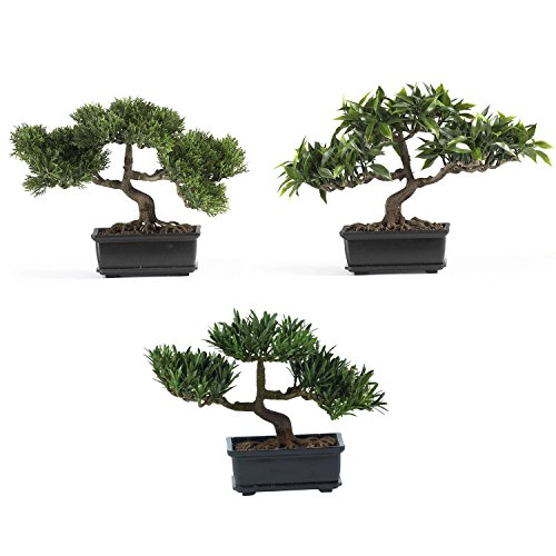 12'' Bonsai Silk Tree Collection - (Set of 3) by Nearly Natural