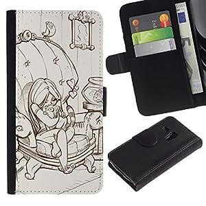 All Phone Most Case / Oferta Especial Cáscara Funda de cuero Monedero Cubierta de proteccion Caso / Wallet Case for Samsung Galaxy S3 MINI 8190 // linda chica dibujo arte del bosquejo de dibujos animados