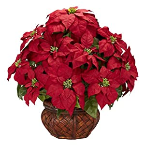 Nearly Natural 1265 Poinsettia with Decorative Planter Silk Flower Arrangement, Red 83