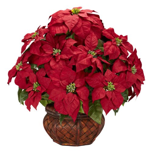 Nearly Natural 1265 Poinsettia with Decorative Planter Silk Flower Arrangement, Red