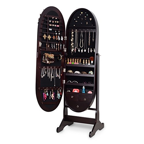 Organizedlife Brown Luxury Full Length Adjustable Mirror Oval Jewelry Armoire Cabinet with Drawers by Organizedlife (Image #1)