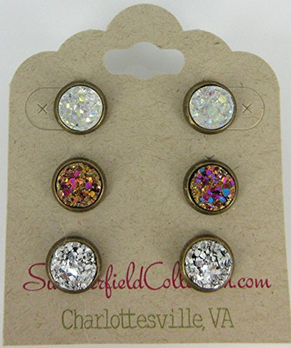 [Trio Antiqued Gold-tone Stud Earrings 8mm Clear AB Pink Gold Silver Faux Druzy Stone Set] (Matching Costumes For Mom And Baby)