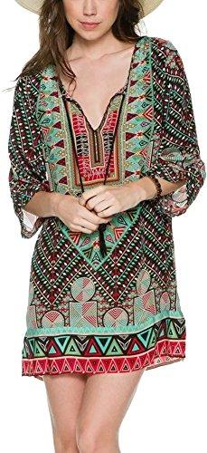 Hippie Tunic Shirt (Women Bohemian Neck Tie Floral Print Ethnic Style Shift Dress (Large, Pattern)