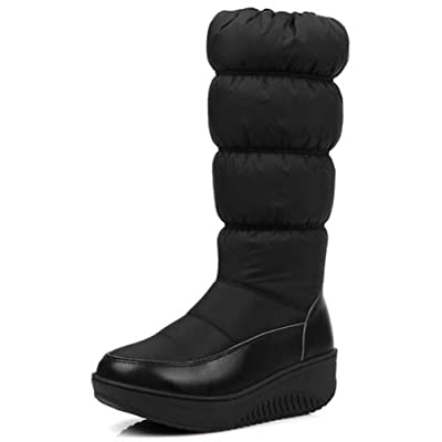 Summerwhisper Women's Trendy Round Toe Wedge Heel Platform Side Zipper Mid Calf Snow Boots Shoes