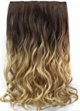 HOT Fashion Long wavy Full Head Clip in Hair Extensions Ombre One Piece 2 Tones Wavy (#Dark brown to sandy blonde)