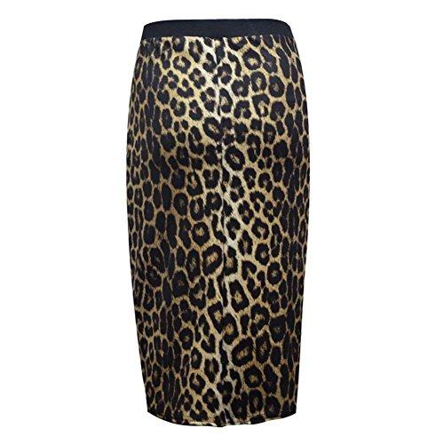 janisramone las mujeres impresión elástico bodycon falda meneo midi plus Paper Brown Leopard
