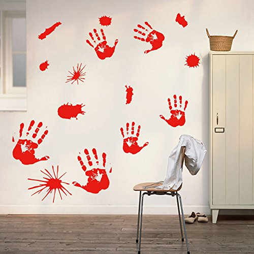 Removable Happy Halloween DIY Wall Decal Wall Stickers Cemetery Witch and Bats Tomb Art Mural Bedroom Home Window Sticker Decorations for Baby Kids Room Nursery Halloween Party by Raleighsee (H12)