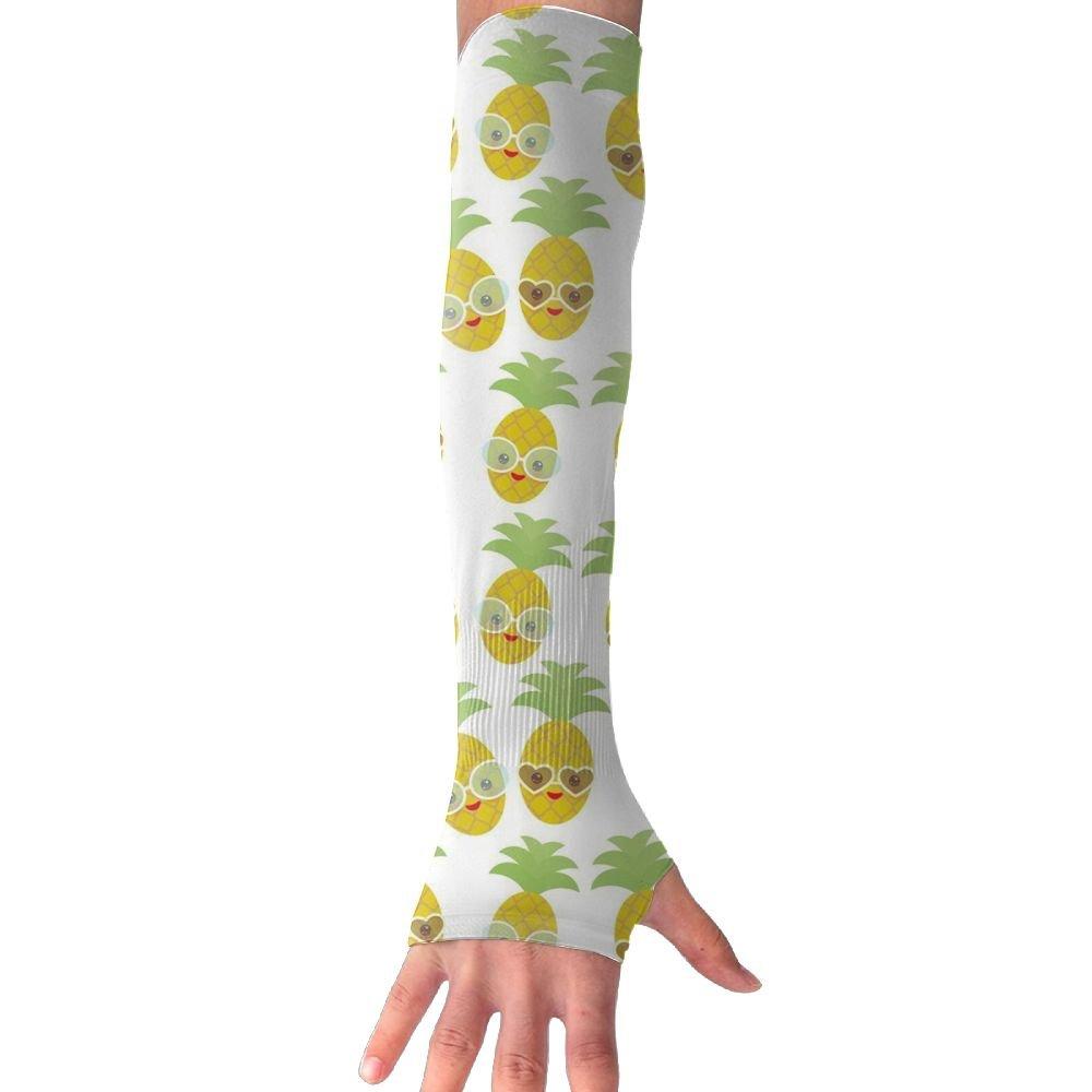 Kawaii Pineapple Face With Sunglasses Women Outdoor Sun Block Soft Long Arm Sleeve Fingerless Gloves