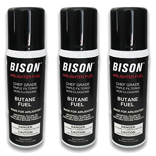 - Bison Airlighter Fuel - 3 Pack (1.5 fl oz per canister) Triple Filtered Butane for Use with the Airlighter or Other Cooking Torches