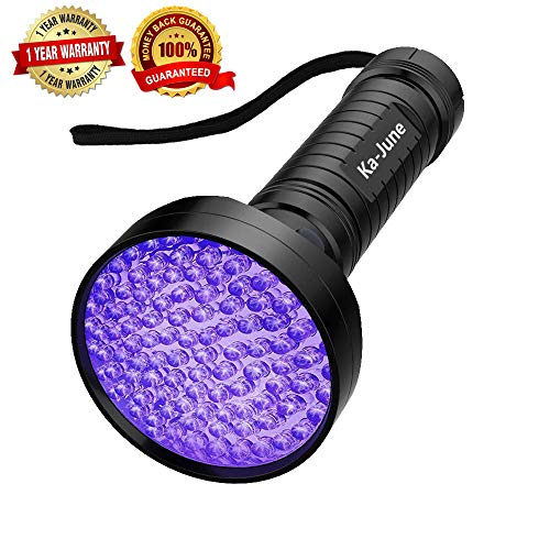 - UV Blacklight Flashlight, Ka June Upgraded 395nm 100 Led Ultraviolet Flashlight Professional Pet Urine Stains Detector for Dog/Cat, Scorpions Hunting, UV Light for Home & Hotel Inspection