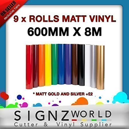 MATT SIGN MAKING VINYL EACH ROLL 600MM X 8M STICKY ADHESIVE CUTTER PLOTTER
