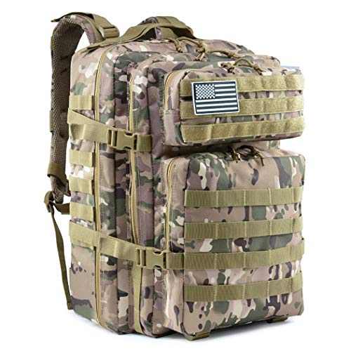 Dunnta Tactical Backpack, 3 Day Assault Pack Molle Bug Out Bag 42L Military Backpack for Hiking Camping Trekking Camo