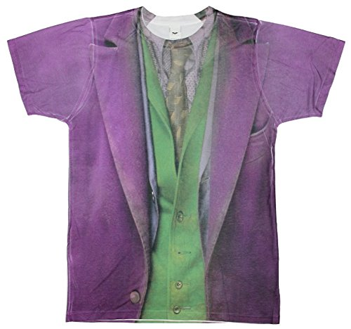 (DARK KNIGHT JOKER COSTUME Mens Poly Short Sleeve Sublimation Crew Shirt)