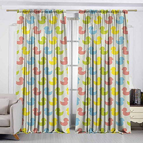 - VIVIDX Rod Pocket Curtains,Rubber Duck,Colorful Ducklings Baby Animals Theme Pastel Girls Boys Newborn,Thermal Insulated Light Blocking Drapes for Bedroom,W72x72L Inches Pink Blue Green and Yellow