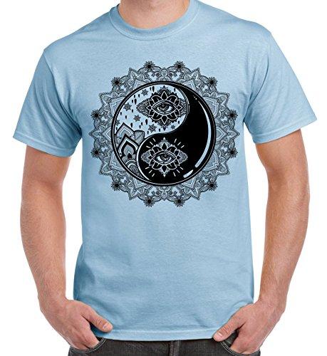 Yin and Yang Mandala Hipster Tattoo Large Print Men's T-Shirt (3XL, Light Blue) ()