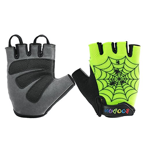 BOODUN Kids Semi Finger Gloves Cycling with Shock-absorbing Gel Pad Breathable Half Finger Skating Bicycle Bike Training Gloves - Spider Web,Light Green
