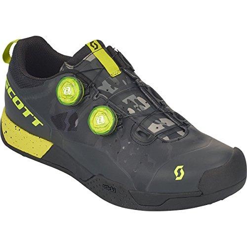 判定ピラミッド転倒スコット?MTB AR BoaクリップShoe – Men 's Black/Sulphur Yellow、44.0