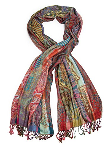 Bohomonde Jivala Scarf, Woven Reversible Striped Pashmina Scarf, hand made in India Festival (Sari Scarf)