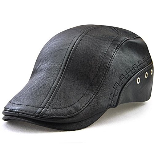 Golf Winter Cap - GESDY Men's Vintage Newsboy Cap PU Leather Ivy Flat Gatsby Hat Winter Golf Driving Hats Beret Caps (Black-1), 55-60CM