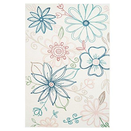 Floral Nursery Area Rug Daisy Multi color Cream Carpet for Living Room, Bedroom, Dining Area (5 x 8)