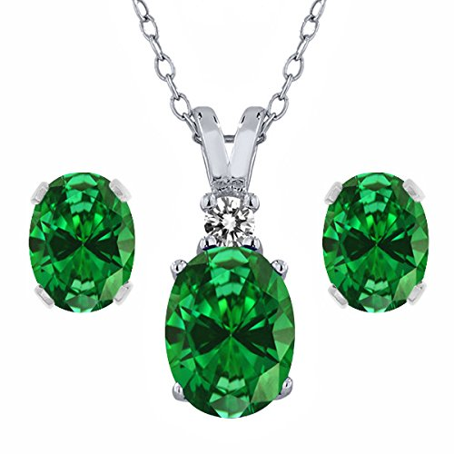 Sterling Oval Emerald Pendant Silver - Gem Stone King 4.65 Ct Oval Green Simulated Emerald 925 Sterling Silver Pendant Earrings Set