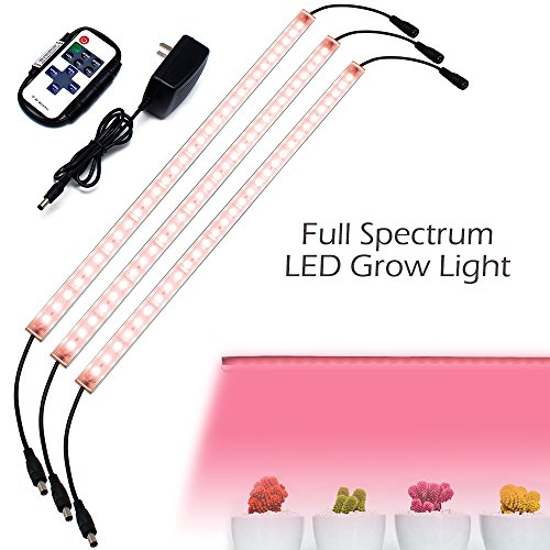 Hard LED Grow Light Strip with Full Spectrum LEDs, 36W IP65 Waterproof Dimmable LED Plant Grow Light Bar for Germination, Growth and Flowering, with 12V/3A Power Supply, Set of 3, All in Kit by LEDLampsWorld