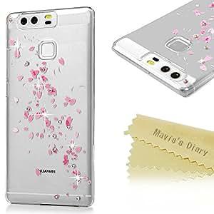 P9funda, Huawei P9funda–Mavis 's Diary 3d hecho a mano Bling cristal brillante Sparkle Totem flores luz colorida impresión de diamantes esmerilado revestimiento Duro PC funda para Huawei P9