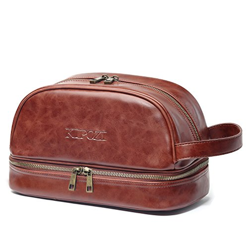 KIPOZI Toiletry Bag for Men, Leather Shaving Bag, Dopp Kit, Large Travel Accessories Organizer Bag for Business, Trips, Vacations, Sport