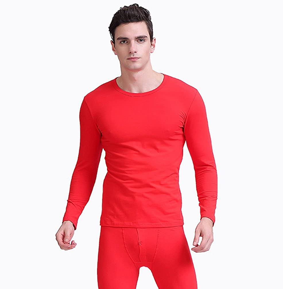 ZhiYuanAN Uomo Set Termico Intimo Tinta Unita Long Johns Leggings Maglia Top Girocollo 2Pcs Autunno Inverno Comodo Base Laye Pantaloni Termici E T Shirt