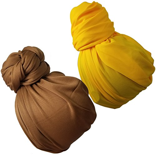 Stretch Head Wrap – Long Black Head Wrap Turban Hair Scarf Tie 2pcs set 1Pcs (3sd lightbrownyellow)