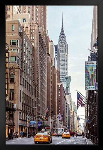 New York City Street View with Chrysler Building Photo Black Wood Framed Art Poster 14x20