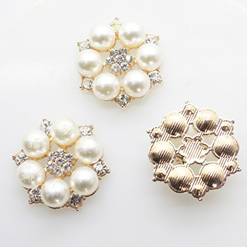 XINXI 40pcs 28mmx26mm Gold Round Pearl Embellishment Rhinestone Pearl Button Flatback DIY Accessories Christmas Buttons (gold)