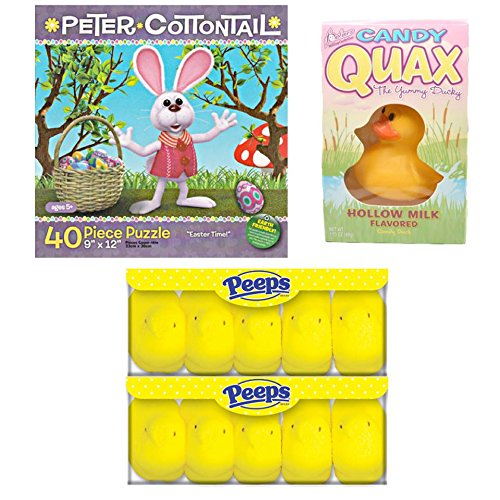Easter Basket Filler Treats Bundle - Yellow Peeps 10 Count, Qaux the Yummy Ducky, 40 Piece Peter Cotton Tail Puzzle