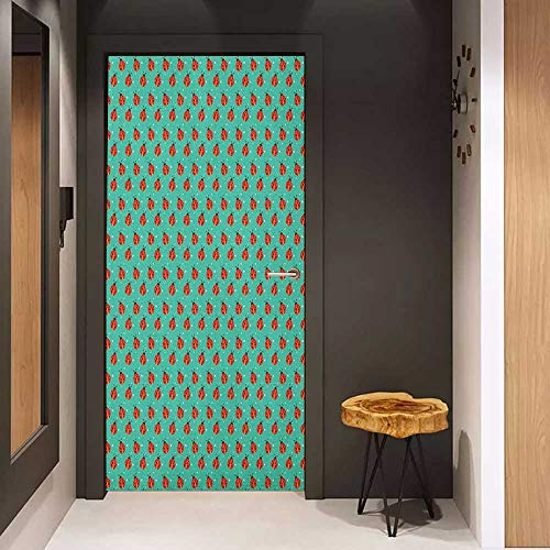 Onefzc Wood Door Sticker Modern Cute Ladybugs with Little Star Motifs Spring Nature Pattern on Blue Background Easy-to-Clean, Durable W38.5 x H79 Teal Red Black