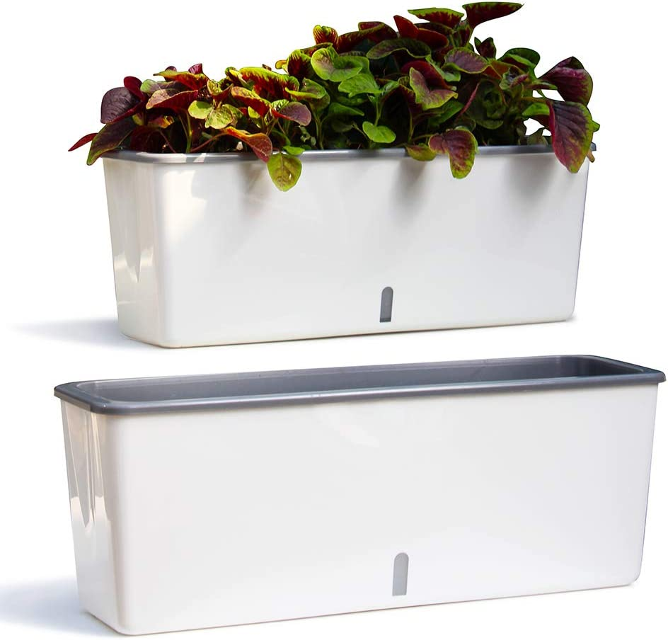 """LLB 2 Pack Self Watering Planter Pot Rectangle Size:17"""" x 4.7"""" x 5.9"""" PP Resin Plastic Plant Pot with Visual Water Level Window and Wick Rope Indoor Decorative Garden Flower Pot for Plants Succulent"""