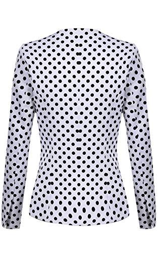 Donna Giubotto Women Di Manica Polka Giacca Volant Autunno Suit Giuntura Da Modern Lunga Dots Pizzo Bianca Leisure Con Outerwear Tailleur Stile Giovane Casual rg1Trq